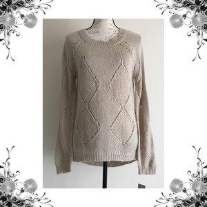 {Olivia Sky} Beige Mohair Blend Knit Sweater